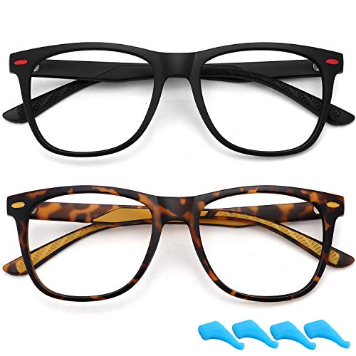 Kids Blue Light Blocking Glasses for Boys Girls Lightweight TR Computer Gaming Eyeglasses Frame Anti Eyestrain 2 Pack (Matt Black+Leopard)