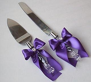 49f1400e0e6 Zehui High-grade Romantic Cake knife shovels Ribbon Bowknot for Wedding and  Party Purple
