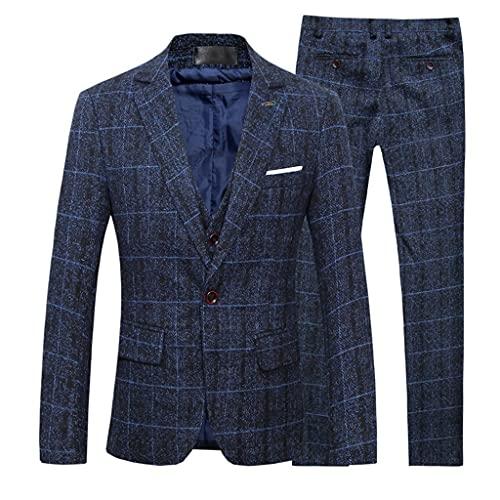 YLQGS 男性チェックスーツファッションビジネスフォーマルカジュアル3ピーススーツジャケットベストパンツパーミプロムオフィスワーク (Color : Blue, Size : XL code)