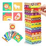 TOP BRIGHT Colored Wooden Blocks Stacking Board Games for...