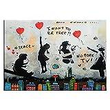 SIRIUSART Fotomural Lienzo Arte de Graffiti Callejero Quiero ser Gratis Lienzo Pintura Paz Cartel de Graffiti e Impresiones imágenes artísticas de Pared para la decoración de la Sala de Estar 60x90cm