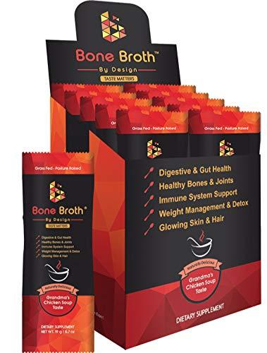 Bone Broth Grass FED Beef • 10 Sachets • Grandma Chicken Soup Natural Flavor • Paleo • Ketogenic • Non-GMO • Broth by Design