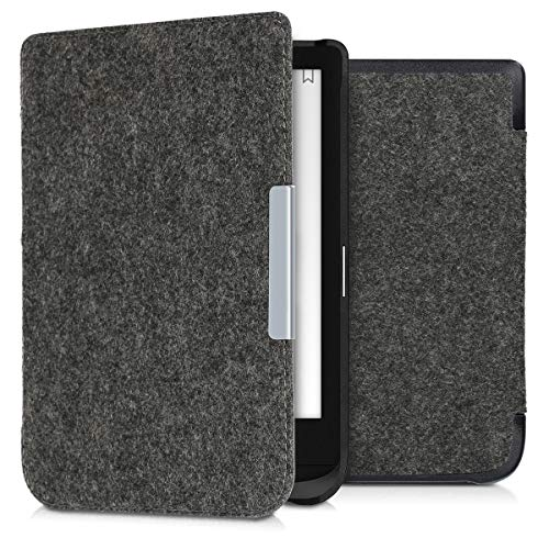 kwmobile Case Compatible with Pocketbook Touch Lux 4/Lux 5/Touch HD 3/Color (2020) - Book Style Felt Fabric Protective e-Reader Cover - Dark Grey