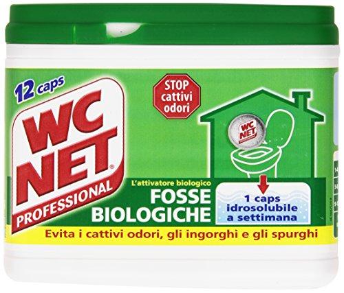 Wc Net Professional Fosse Biologiche, Capsule Idrosolubili per WC, Scioglie gli Ingorghi, 12 Caps, 216 gr