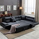 Sofa Sectional Sofa Bed futon Sofa Bed Sofa for Living Room Couches and Sofas Sleeper Sofa PU Leather Sofa Set Corner Modern Queen 2 Piece Contemporary Upholstered