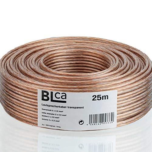 BLca - 2 x 2.5 mm² - 25m -Cavo per altoparlanti - HiFi Cavo per Altoparlanti e Casse Audio per Auto, CCA Rame, Trasparente