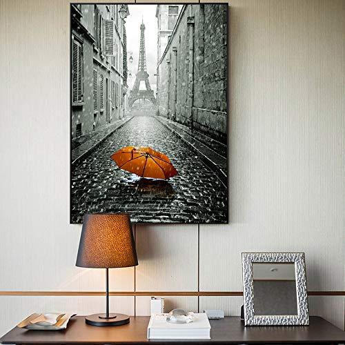 SADHAF Paris Tower muurposter en romantische afdrukken op Parijs Street Canvas olieverfschilderij gedrukt paraplu landschap muurschildering A2 40x50cm