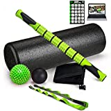Fitness Kings The Ultimate Foam Roller Set - Large 18' Foam Exercise Set with Massage Stick, Spiky Massage Ball, Deep Tissue Ball Massager & Yoga Strap - Home Gym Set for Pilates - W/Workout Program