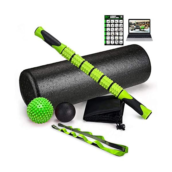 Fitness Kings The Ultimate Foam Roller Set – Large 18″ Foam Exercise Set with Massage Stick, Spiky Massage Ball, Deep Tissue Ball Massager & Yoga Strap – Home Gym Set for Pilates – W/Workout Program