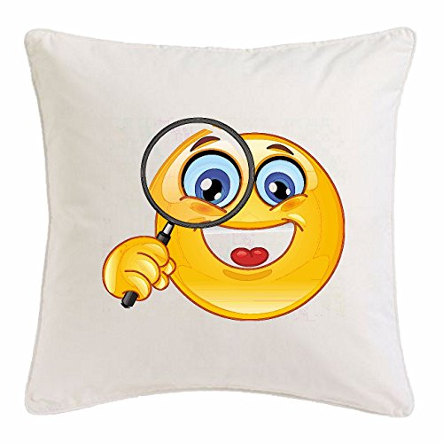 Reifen-Markt Kissenbezug 40x40cm FRÖHLICHER Smiley MIT GROSSER Lupe Smileys Smilies Android iPhone Emoticons IOS GRINSE Gesicht Emoticon APP aus Mikrofaser in Weiß