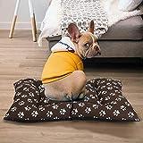 BCASE Cama para Perros, Cama para Mascotas con Colchon Suave y Cómodo, Material 100% Poliéster, 72x52x7 CM, con Diseño de Huellas, En Color Café.