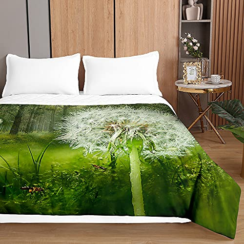Chickwin Tagesdecken Bettüberwurf, 3D Löwenzahn Drucken Sommer Tagesdecke mit Prägemuster Wohndecke aus Mikrofaser Bettdecke für Einzelbett Doppelbett oder Kinder (Waldlöwenzahn,230x260cm)