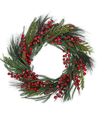 20 Inch Red Berry Christmas Wreath - Artificial Pinecons Spruce Pine Spray Traditional Christmas Wreath Decoration,Winter Holiday Greenery Decor for Fireplace Table Wedding Front Door Decoration