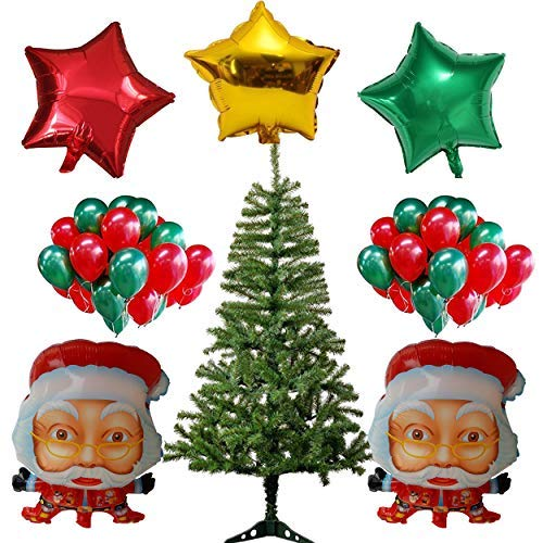 Party Hub 2 Feet Artificial Xmas Tree/Christmas Tree with 2 Santa Claus Foil Balloon and 3 Pcs Star Foil Balloons and 50 Red and Green Matellic Latex Balloon for Christmas Year