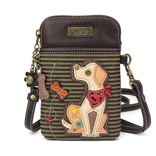 Chala Crossbody Cell Phone Purse - Women PU Leather Multicolor Handbag with Adjustable Strap - Yellow Lab Olive Stripe