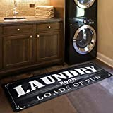USTIDE Laundry Room Load of Fun Rug Farmhouse Carpet for Porch Washroom Mudroom Non Skid Rubber Waterproof Kitchen Mat, 20x48