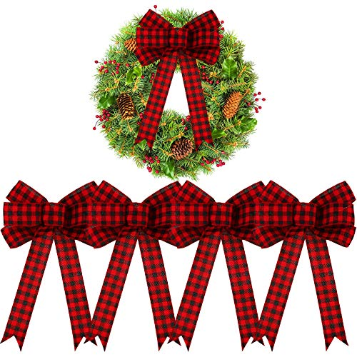 EBOOT Buffalo Plaid Wreath Bow Halloween Black and Red Buffalo Check Large Bow Thanksgiving Wreath Bows Plaid Christmas Bows for Party Home Decoration (4, 10 x 16 Inch)