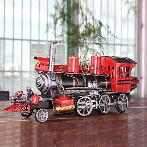 LCSD Adornos antiguos locomotora modelo de personalidad creativa modelo de coche de metal regalos creativos artículos de metal tren rey decoración del hogar 41 x 12 x 20 cm