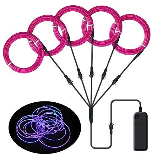 EL Wire, Songway 5 * 1 M Draht Neon Leuchtschnur EL Kabel euchtkabel Neon Wire Leuchtende Strobing Elektrolumineszenz mit 3 Modes für Halloween Weihnachtsfeiern und Partybeleuchtung (Lila)
