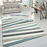 Paco Home Alfombra De Diseño Moderna Contorneada En Colores Pastel A Rayas Y Zigzag En Azul y Crema, tamaño:80x150 cm