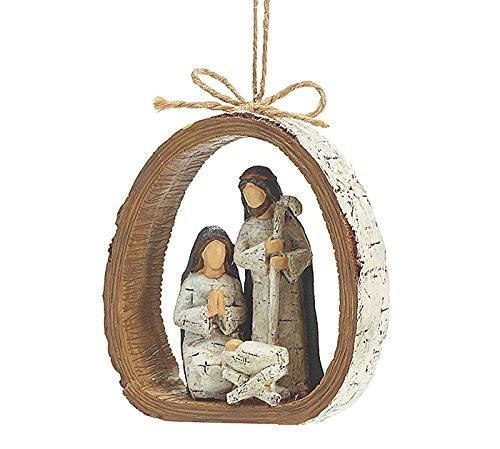 Burton & Burton 9728076 Birch Bark Ring Resin Holy Family Resin Ornament, each, Multicolor