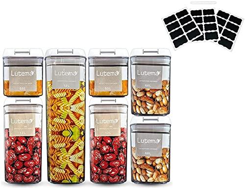 Juego de 7 Contenedores Herméticos para Almacenamiento de Alimentos Recipientes Libres de BPA y Tapa Abre-Facíl con Etiquetas para...