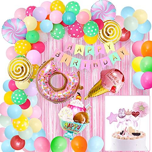 Decoraciones de fiesta de cumpleaños de caramelo, suministro de fiesta de cumpleaños de donut con cortina de flecos de aluminio, pancarta de feliz cumpleaños, globo de papel de helado de donut