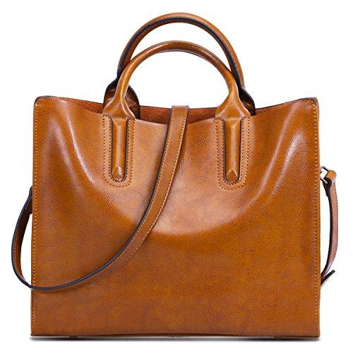 S-Zone Women Genuine Leather Top Handle Satchel Crossbody Shoulder Bag