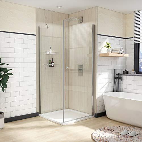 WELMAX Duschkabine 75x75 cm Eckeinstieg Duschabtrennung Duschtür Pendeltür mit Seitenwand Dusche Schwingtür Duschwand 6mm Sicherheitsglas mit Nano Beschichtung Höhe 185cm
