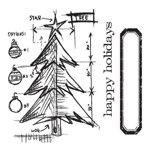 Sizzix - Framelits, Set da 6 Fustelle Decorative con Albero di Natale Stilizzato, Design di Tim Holtz