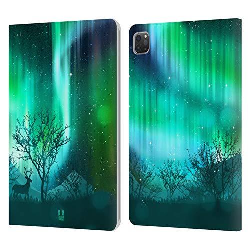 Head Case Designs Arboleda Forestal Verde Luces del Norte Carcasa de Cuero Tipo Libro Compatible con Apple iPad Pro 11 (2020/2021)