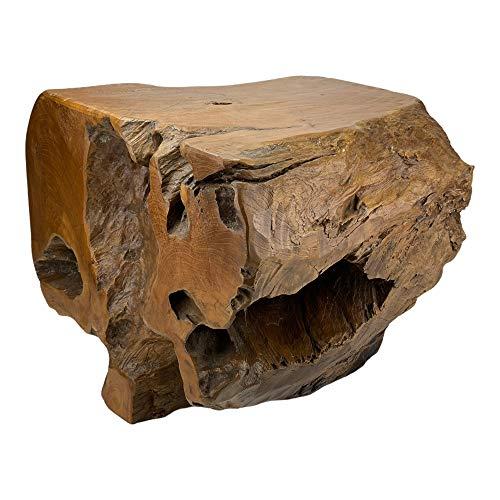 Mesa de centro (madera de raíz, 38 cm, madera de teca)