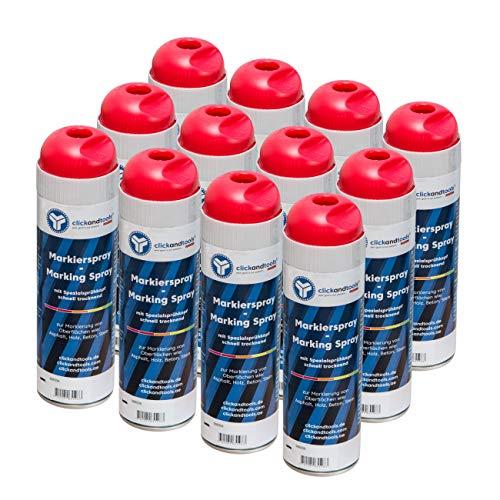 Markierungsspray leuchtend rot clickandtools® 12'er Pack mit Spezialsprühkopf, schnell trocknend