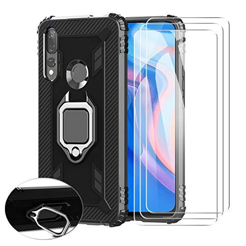 SCDMY Coque pour Sony Xperia L4 + 3 * Verre Trempé Film, 360°Ring Magnetique Holder Etui Protection Case Silicone Résistant Aux Chutes Quatre Coins TPU Housse Bumper Cover Shell - Noir