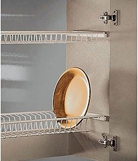 Casaenorden - Kit Escurridor de Platos y Vasos de Acero Blanco para Mueble de Cocina - Ancho 365 mm