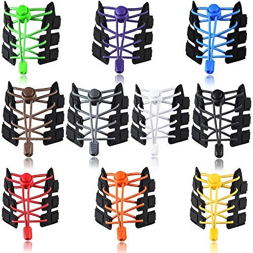 UPINS 10 Pairs Elastic Shoe Laces No Tie Adjustable Tieless Rubber Shoelaces (Elastic Shoe Laces)