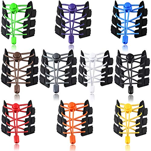 UPINS 10 Pairs Elastic Shoe Laces No Tie Adjustable Tieless Rubber Shoelaces