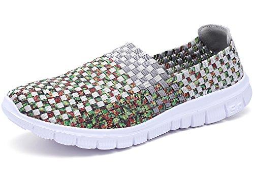 Konfor Damen-Schuhe, mehrfarbig, elastischer Stoff, leger, kariert, gewebt, flache Schuhe, Grau (grau), 40.5 EU