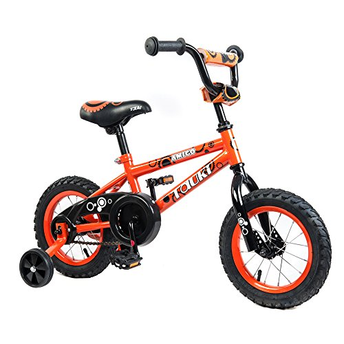 Tauki Kid Bike BMX Bike for Boys and Girls, 12 Inch, Orange, for 2-5 Years Old