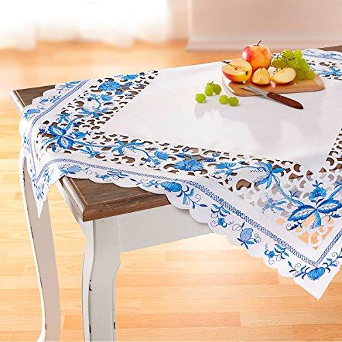 vivaDOMO Mitteldecke Blaue Pracht, Tischdecke mit Blumen Bestickt & Aussparungen | Tischläufer, waschbar, 85 x 85 cm