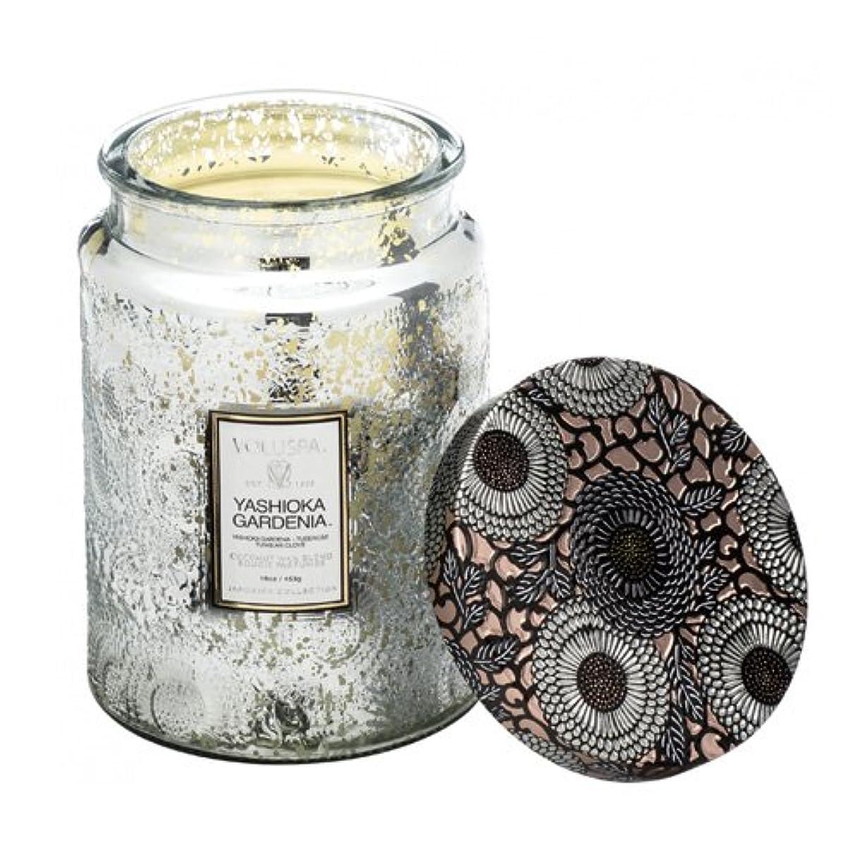 今晩関係する不健康Voluspa ボルスパ ジャポニカ リミテッド グラスジャーキャンドル  L ヤシオカガーデニア YASHIOKA GARDENIA JAPONICA Limited LARGE EMBOSSED Glass jar candle