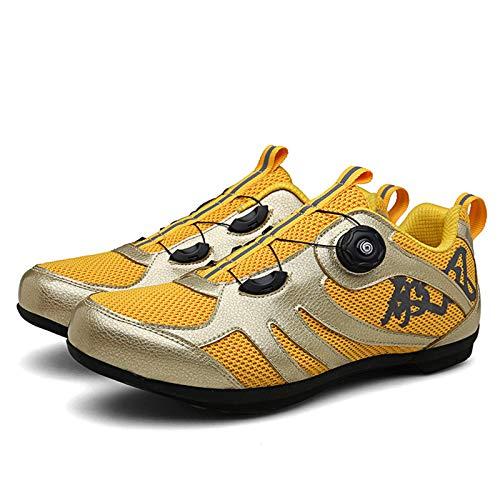 Sebasty Zapatillas De Ciclismo,Ciclismo para Hombres Y Mujeres,Suelas De Goma Dura,Transpirables,Zapatillas Giratorias,Fuentes Reflectantes,Yellow41