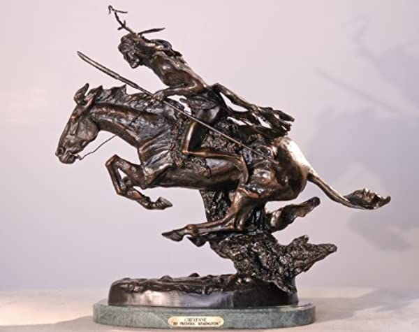 Artistic Solutions Frederic Remington Solid American Bronze Statue Cheyenne Baby Size