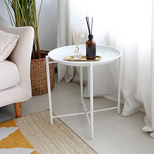 Carl Artbay Home&Selected Furniture/kleine moderne metalen bijzettafel bijzettafel salontafel - eenvoudige montage multi-use decoratie binnen en buiten -45 * 45 cm (kleur: wit)