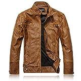 X&Armanis Giacca in Pelle Calda da Uomo, Giacche Vintage con Cerniera Artificiali Cappotto Giacca Moto in Pelle PU,3,L