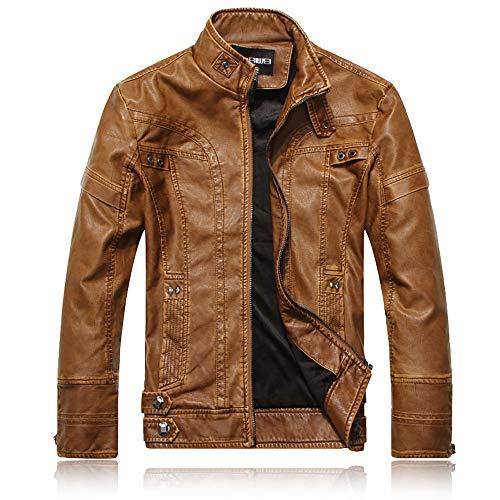 X&Armanis Warme Lederjacke für Herren, Vintage Reißverschluss Jacken künstlich Pu Leder Motorradjacke Mantel,3,M