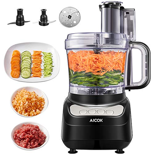 AICOK Compact Food Processor, Multifunctional 12 Cup Electric Food Chopper, 4 Speed Controls Food Shredder, Chopper with Blade best food processor for pureed diet