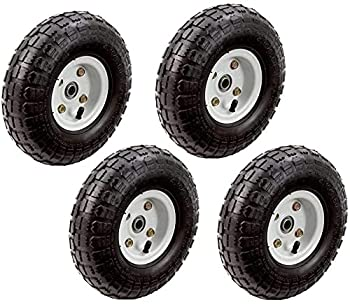 4 Pack 10  Pneumatic Replacement Tires for Garden Including Gorilla Cart Black
