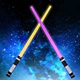 Huanchenda Light Up Saber 2-in-1 LED FX Double Laser Sword with Motion Sensor FX Sound Effect LED Double Lightsaber Retractable, Suitable for Birthday Gifts, Halloween Parties, for Children