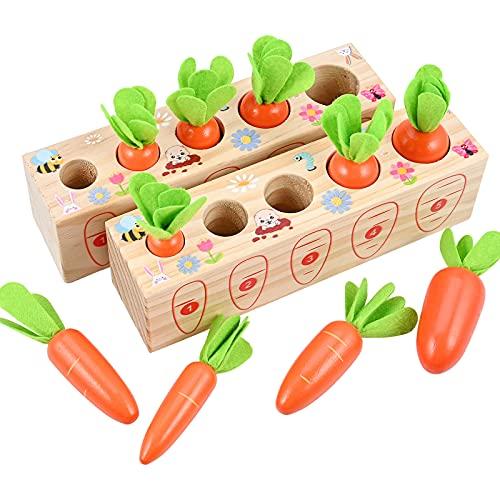 GOLDGE 2pcs Puzzle Juguetes Montessori 1 años, Juguetes de Madera para Bebés 1 año, Juguetes Educativos de Madera para Niños, Juego de Tirar de Zanahoria Números